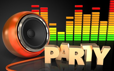 3d illustration of orange speaker over black background with party sign Stock Photo