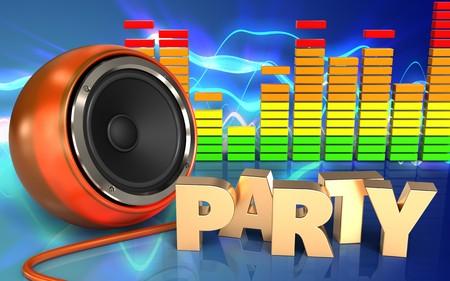 3d illustration of orange speaker over sound waves blue background with party sign