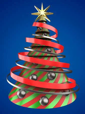 3d illustration of Christmas tree shape over blue background with mirror ball