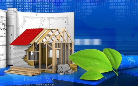 3d illustration of frame house with drawings over digital background