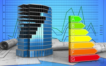 3d illustration of office building construction over graph background Stock Photo
