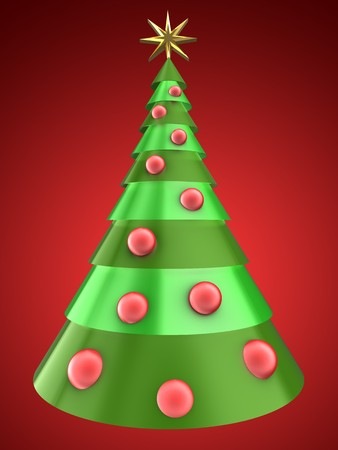 3d illustration of Christmas tree over red background with red balls Stock Photo