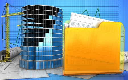 3d illustration of office building construction with crane over graph background