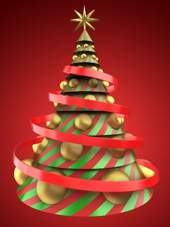 bola ocho: 3d illustration of Christmas tree shape over red background with big golden balls