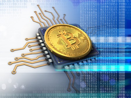 3d illustration of bitcoin over white background with cpu blue