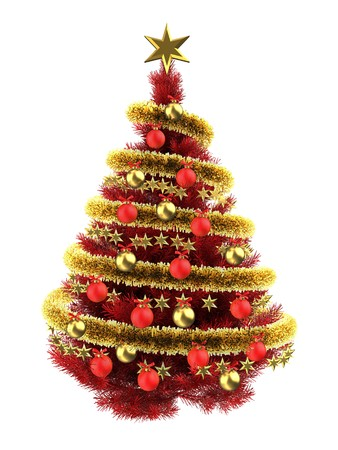 3d illustration of red Christmas tree over white with red balls and frippery