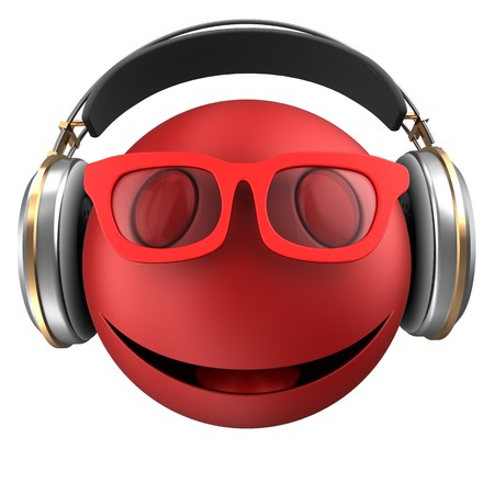 3d illustration of red emoticon smile with headphones over white background Stock Photo