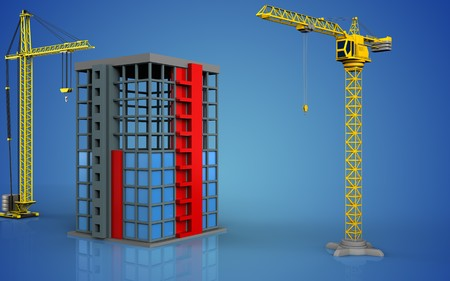 3d illustratie van bouwconstructie met kraan over blauwe achtergrond