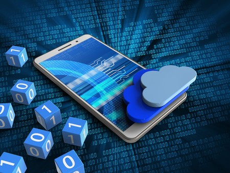 remote server: 3d illustration of white phone over digital background with binary cubes and clouds