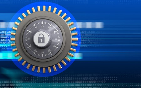 3d illustration of combination lock  over cyber background Stock Photo