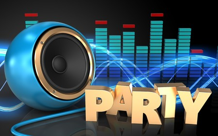3d illustration of blue sound speaker over sound wave black background with party sign Stock Photo