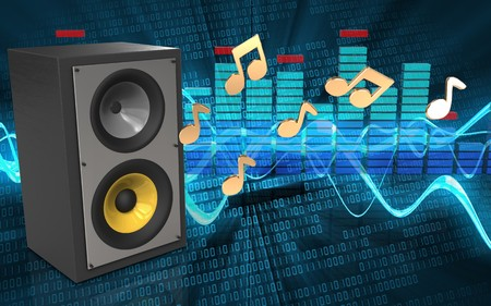 3d illustration of sound system over sound wave digital background with notes