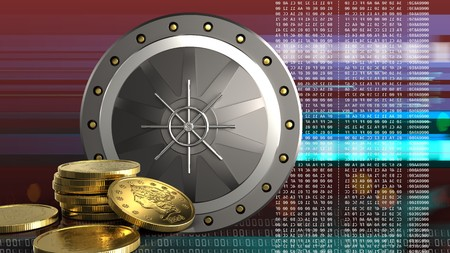 3d illustration of valut door over red cyber background with golden coins