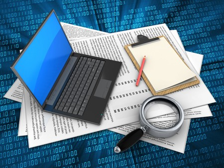 3d illustration of papers and black laptop over digital background with note