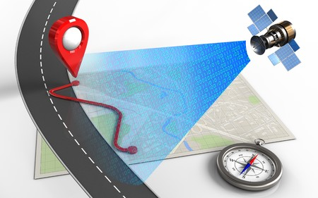 3d illustration of bright map with route and compass