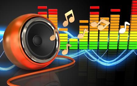 3d illustration of orange speaker over sound wave black background with notes Stock Photo