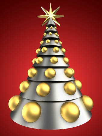 3d illustration of metal Christmas tree over red background with big golden balls