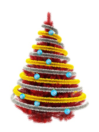 3d illustration of red Christmas tree over white with  and frippery