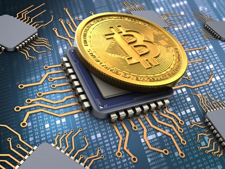 hexadecimal: 3d illustration of bitcoin over hexadecimal background with processors