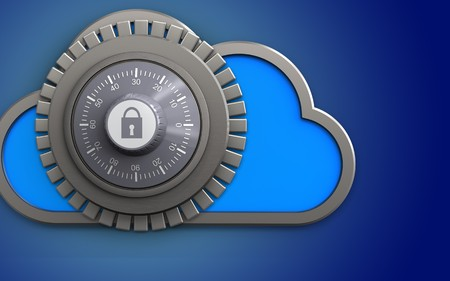 3d illustration of cloud with combination lock over blue background