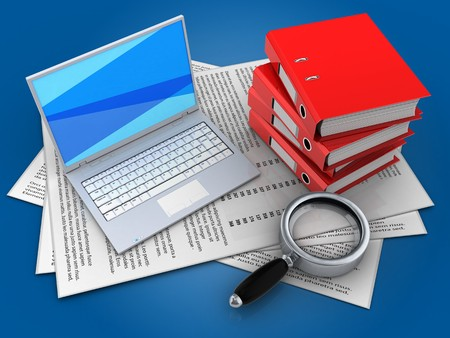 3d illustration of papers and white laptop over blue background with binder folders