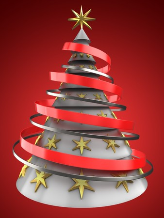 8 ball: 3d illustration of white Christmas tree over red background with decoration