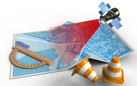3d illustration of city map with protractor and satellite