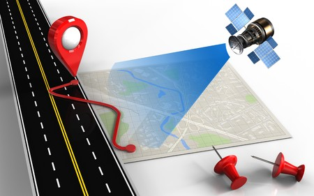 routing: 3d illustration of bright map with route and red pins Stock Photo