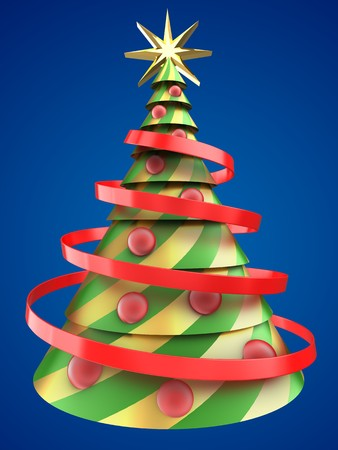 8 ball: 3d illustration of abstract Christmas tree over blue background with red balls Stock Photo