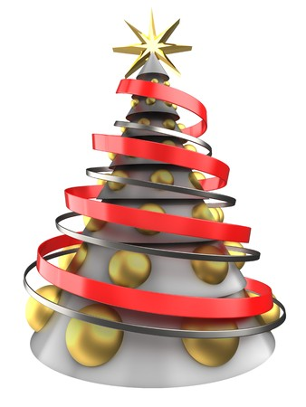 bola ocho: 3d illustration of white Christmas tree over white background with big golden balls Foto de archivo