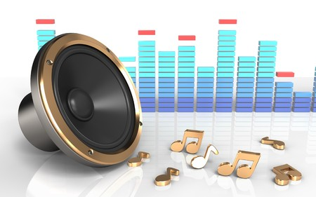 3d illustration of loud speaker over white background with notes Stock Photo