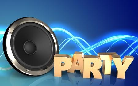 파티 기호로 소리 배경 이상의 3d 일러스트 스톡 콘텐츠