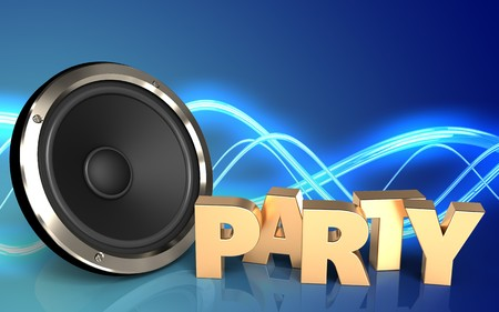 3d illustration of  over sound background with party sign Foto de archivo