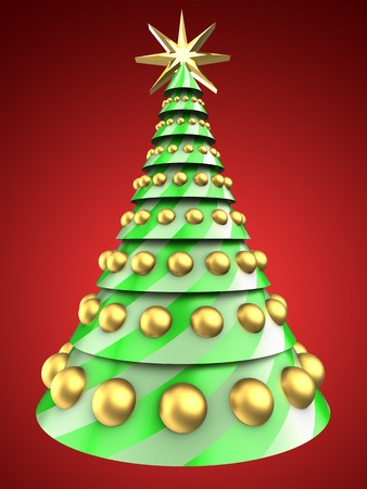 bola ocho: 3d illustration of Christmas tree over red background with golden balls