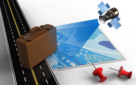 3d illustration of blue map with luggage and red pins