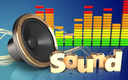 3d illustration of loud speaker over wave blue background with sound sign Stock Photo