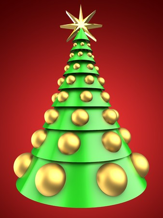 bola ocho: 3d illustration of light green Christmas tree over red background with big golden balls