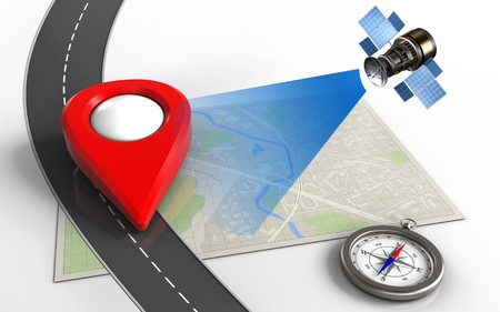 3d illustration of bright map with point icon and compass