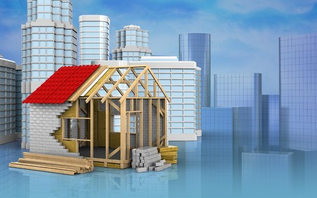 3d illustration of frame house with urban scene over skyscrappers background