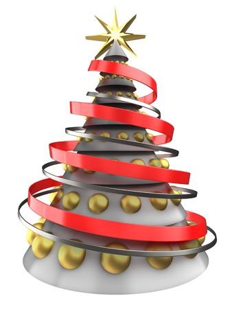 8 ball: 3d illustration of white Christmas tree over white background with golden balls