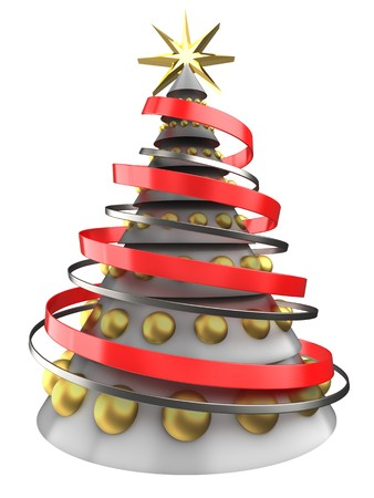3d illustration of white Christmas tree over white background with golden balls