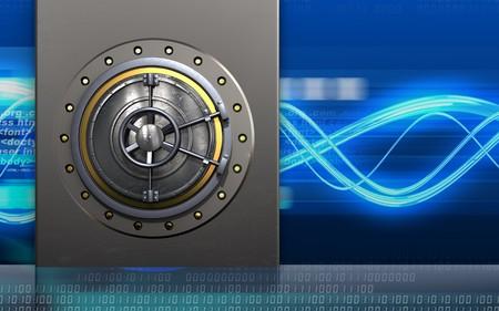 3d illustration of metal box with wheel door over digital waves background Stock Photo
