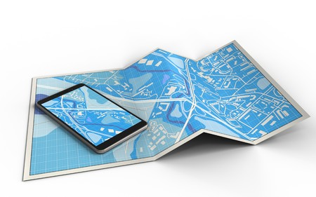 3d illustration of city map with mobile phone and