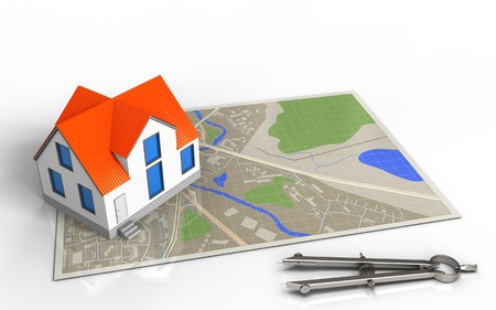 3d illustration of map with house and