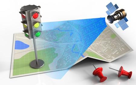 3d illustratie van kaartdocument met verkeerslicht en satelliet digitaal signaal