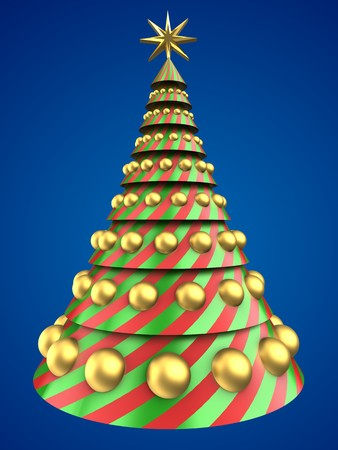 bola ocho: 3d illustration of Christmas tree shape over blue background with golden balls