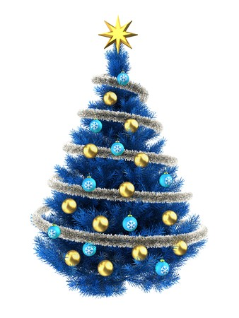 3d illustration of blue Christmas tree over white with golden balls and frippery Stock Photo