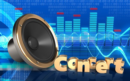 3d illustration of loud speaker over cyber background with concert sign Stock Photo
