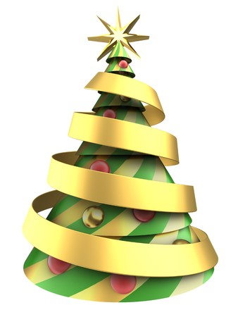 8 ball: 3d illustration of abstract Christmas tree over white background with balls