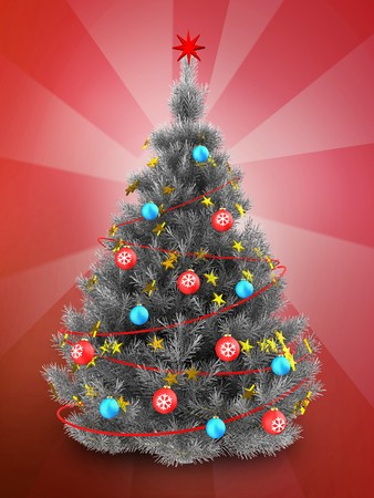 3d illustration of silver christmas tree with red decorations over red background stock illustration 88045626 - How To Decorate A Red And Silver Christmas Tree